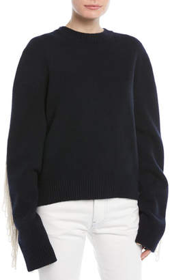 Calvin Klein Crewneck Long-Sleeve Virgin-Wool Sweater w/ Fringe Detail