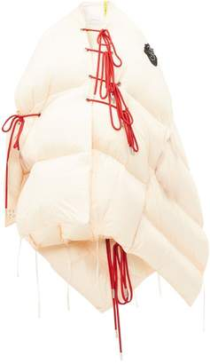 Simone Rocha 4 Moncler Shari Lace Up Quilted Cape - Womens - Light Pink