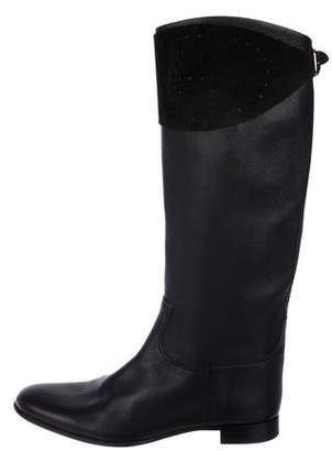 Hermes Leather Round-Toe Knee-High Boots