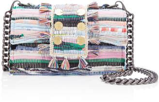 Kooreloo Studded Tasseled Woven Cotton Shoulder Bag