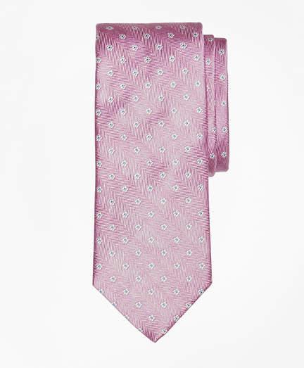 Brooks Brothers Herringbone Ground Flower Tie