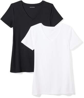 Amazon Essentials Women's 2-Pack Short-Sleeve V-Neck Solid T-Shirt