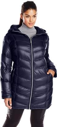 Calvin Klein Women's Plus-Size Mid-Length Packable Chevron Down Coat Plus