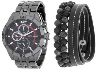 Steve Madden Men's Quartz Bracelet Watch & Bracelet Set, 46mm
