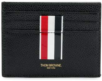 Thom Browne Vertical Intarsia Stripe Cardholder In Pebble Grain Leather