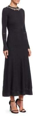 Oscar de la Renta Faux Pearl Knitted Midi Dress