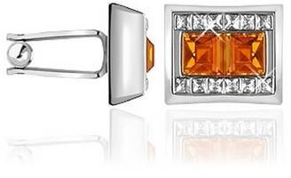 Forzieri Orange Square Stone Cufflinks