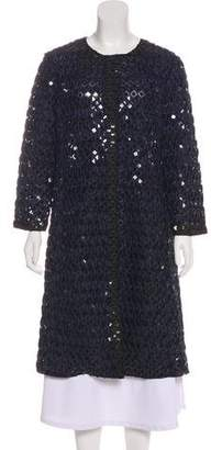 Oscar de la Renta Sequined Knee-Length Coat w/ Tags