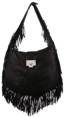 Jimmy Choo Snakeskin-Trimmed Roxie Hobo