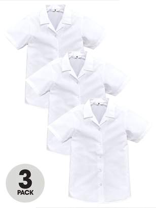 Very Girls 3 Pack Revere Collar Short Sleeve School Shirts