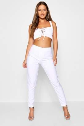 boohoo Petite Stripe Tapered Trouser