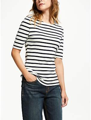 John Lewis & Partners Half Sleeve Boat Neck Stripe T-Shirt