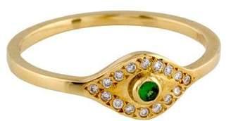 Ileana Makri 18K Diamond & Tsavorite Evil Eye Ring
