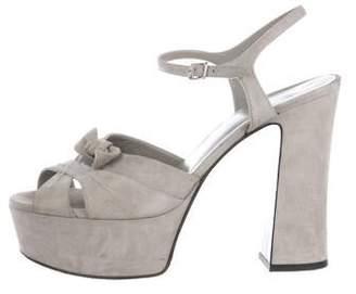 d732f11c506 Ysl Grey Suede Platform Shoes - ShopStyle
