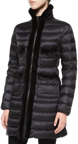 MonclerMoncler Lacaniz Mink-Trim Puffer Jacket, Black