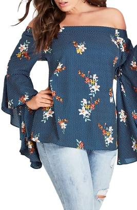 City Chic Spot the Floral Off the Shoulder Top