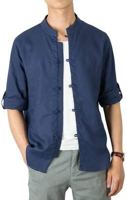 8e9f3c4c03 SHOWNO-Men Stand Collar 3 4 Sleeve Cotton Linen Button up Chinese Style  Dress