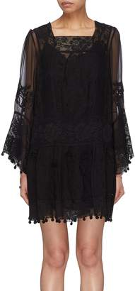 Zimmermann 'Tempest' pompom border floral embroidered silk smock dress