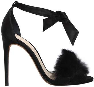 Alexandre Birman 100mm Clarita Fur & Satin Sandals