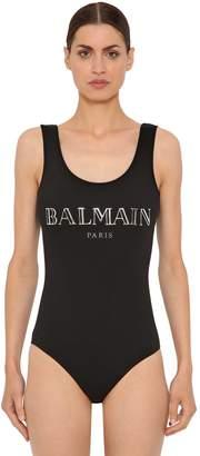 Balmain 3d Shiny Logo Cotton Jersey Bodysuit