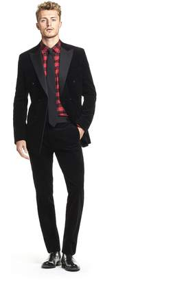 Todd Snyder Black Label Made in the USA Micro Corduroy Peak Lapel Jacket Double Breasted Tuxedo in Black