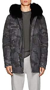 Mr & Mrs Italy Men's Fur-Lined Cotton-Canvas Mini Parka - Gray Pat.