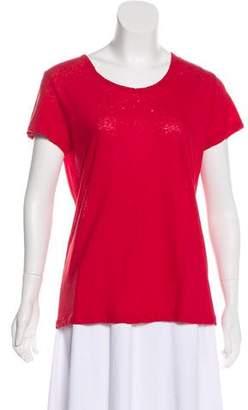 LnA Distressed Scoop Neck T-Shirt