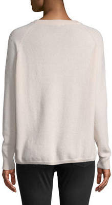 Minnie Rose Cashmere Raglan-Sleeve Crewneck Sweater