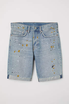 H&M Straight Fit Denim Shorts - Blue