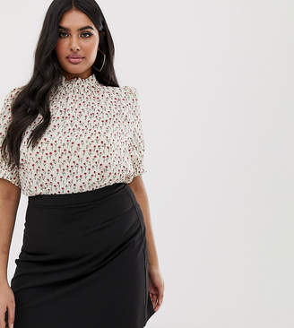 Fashion Union Plus high neck blouse in ditsy floral