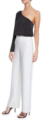 Aidan Mattox Asymmetric One-Shoulder Two-Tone Jumpsuit w/ Charmeuse Top & Crepe Bottom