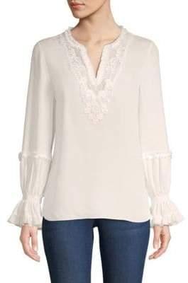 Long-Sleeve Silk Peasant Blouse