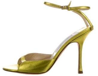 Jimmy Choo Leather Wrap-Around Sandals Gold Leather Wrap-Around Sandals