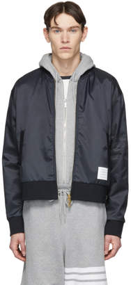 Thom Browne Navy Ripstop Bomber Jacket