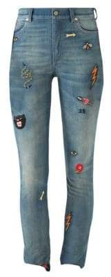 Gucci Embroidered Denim Skinny Pants