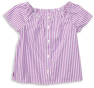 Ralph Lauren Childrenswear Baby Girls Baby Girls Cotton Striped Top $35 thestylecure.com