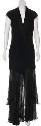 Haute Hippie Shawl-Lapel Evening Dress