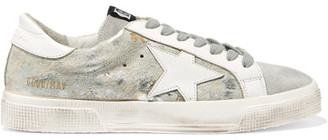 Golden Goose Deluxe Brand - May Distressed Metallic Calf Hair, Suede And Leather Sneakers - White $425 thestylecure.com
