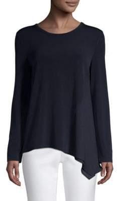 Donna Karan Asymmetric Long-Sleeve Top