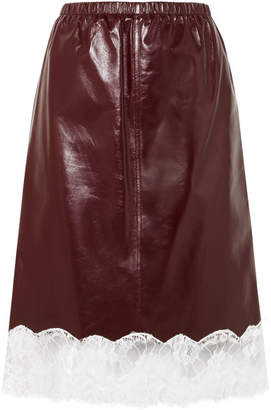 Calvin Klein Lace-trimmed Leather Skirt - Burgundy