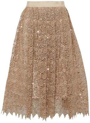 Alice + Olivia Almira Sequined Metallic Guipure Lace Skirt