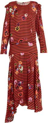 Preen Line Aaliyah pansy-print and striped crepe dress