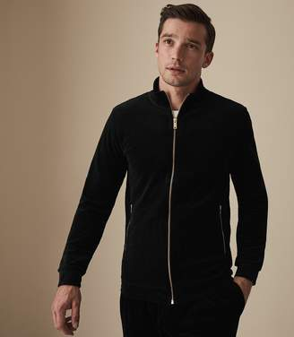 7f3e1a1d1891 Reiss THORPE VELOUR ZIP THROUGH JUMPER Black