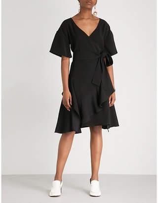 Adeam Ruffled woven wrap dress