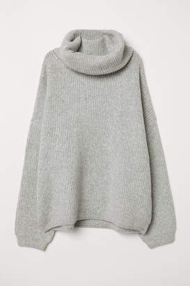 H&M Ribbed Turtleneck Sweater - Gray