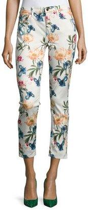 JEN7 Terrace Garden Floral-Print Cropped Skinny Jeans, Multi $169 thestylecure.com
