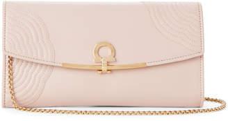 Salvatore Ferragamo Pale Pink Gancio Embroidered Leather Shoulder Bag