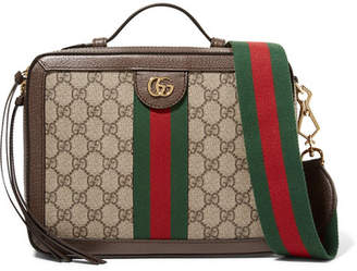 Gucci Ophidia Small Textured Leather-trimmed Printed Coated-canvas Camera Bag - Brown