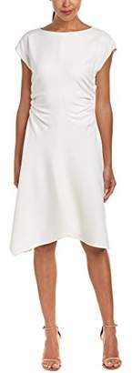 Halston Women's Short Sleeve Wide Boatneck Dress with Waist Gathers