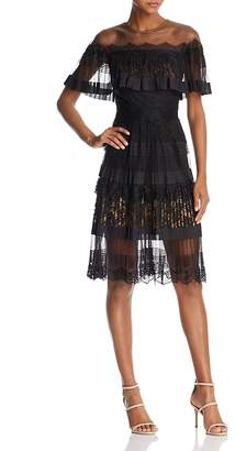 Tadashi Shoji Illusion-Off-the-Shoulder Lace Dress